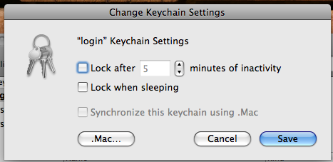 Settings for a keychain